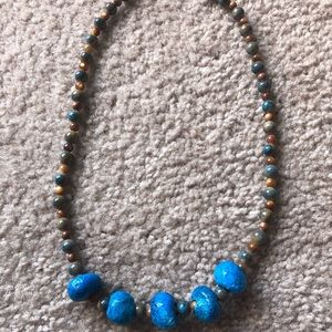 Unique handmade glass and ceramic beaded necklace